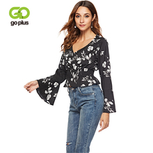 GOPLUS Butterfly Sleeve Floral Print Chiffon Blouses Women Sexy V Neck Shirt Ladies 2019 Spring Winter Casual Elegant Female Top