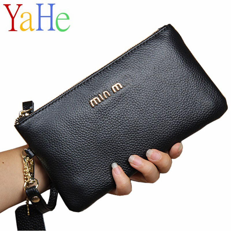 YaHe Women Wallets Long Genuine Leather Coin Purse Zipper Ladies Clutch Money Phone Bag Women's Card Holders Slim Woman Wallet baellerry 11 11 leather womens wallets coin pocket double zipper purse female long ladies phone clutch card holders wallet w049