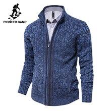 パイオニアキャンプメンズカーディガンセーター有名なブランドの服スリムフィットジッパー男性セータートップ品質カーディガン