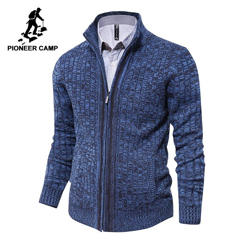 Pionnier Camp hommes cardigan chandail marque célèbre vêtements slim fit zipper mâle chandails top qualité cardigan pour hommes