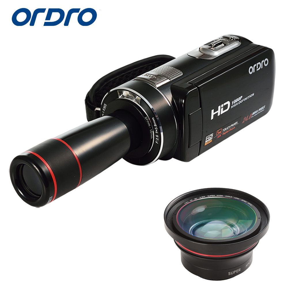 Ordro Digital Video Camera HDV-Z18 Plus 1080P FHD Camcorder with 0.39X Super Wide Angle Lens and 12X Teleconverter HDMI Output