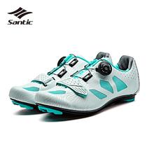 Santic profesjonalne auto-blokady buty rowerowe damskie obuwie rowerowe wyścigi buty rowerowe trampki Zapatillas Sapatilha Ciclismo tanie tanio WOMEN Dla dorosłych Oddychające Syntetyczny Średnie (b m) Lace-up Cycling Shoes Pasuje prawda na wymiar weź swój normalny rozmiar