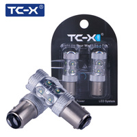 TC X 2pcs Led Car Styling 1157 BA15D 12V With Lens Bright White Car Styling For