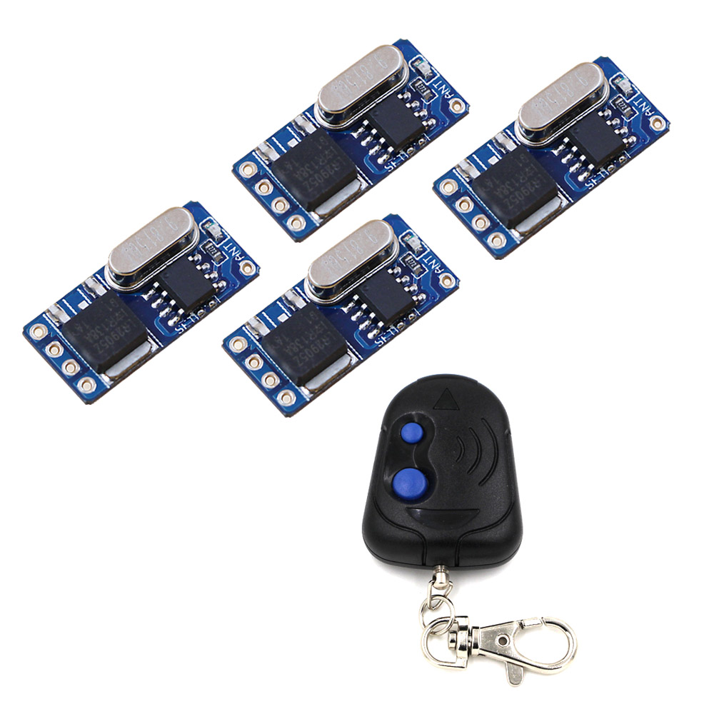 DC3.5v~12v Micro Wireless Remote Switch Teleswitch Wireless Remote Controller 4 Receiver & Transmitter 315Mhz/433Mhz wireless remote control switch system remote controller switvh 2ch relay teleswitch for led lamp light 315mhz 433mhz