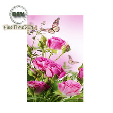 Diy Diamond Cross Stitch 5D Diamond Painting Mosaic Set Round Diamond Embroidered Butterfly Rose Pattern32X57CM full diamond embroidered mosaic 5d diy diamond painting red cross stitch diamond embroidered butterfly home decor