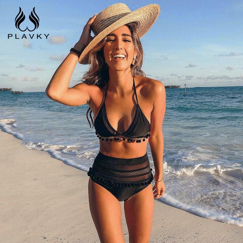 2019 Sexy Halter Retro hueco de malla de cadena Bikini traje de baño femenino de cintura alta Plus tamaño traje de baño mujeres Bikini