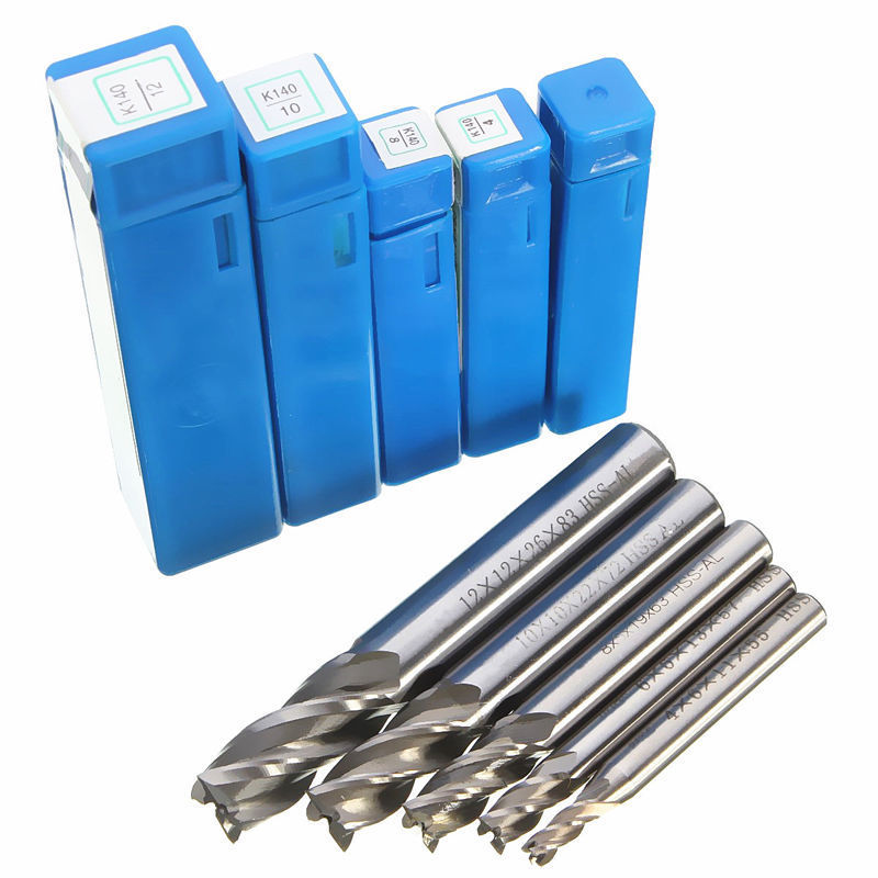 1pc HSS CNC End Mill Cutter Drills Mayitr Straight Shank 4 Flute Cutter Drill Bit Tool 4/6/8/10/12mm for Aluminum Steel Milling