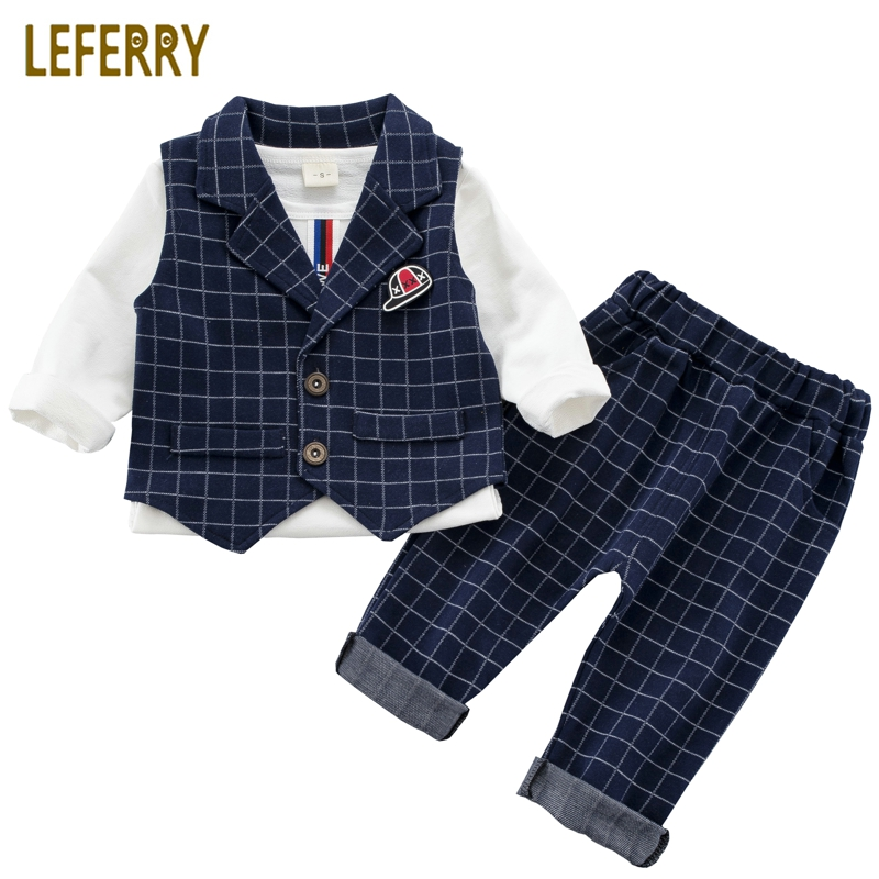 цены на Baby Boy Suit Set 3PCS Kids Clothes Boys Baby Clothing Sets Vest Shirt Pants Toddler Boys Clothes Set Wedding Outfits Birthday