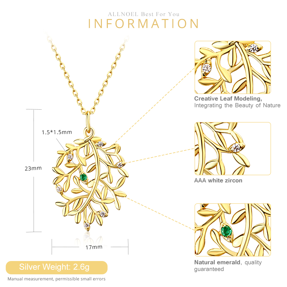 ALLNOEL Luxury Natural Emerald Pendant Real 925 Sterling Silver Leaf Necklaces For Women Link Chain Jewelry Engagement Gift New  (9)