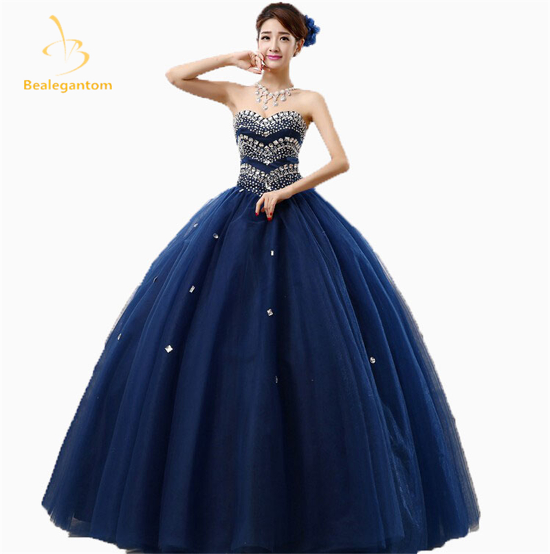 a990ecd10e5 2017 New Sexy Crystal Ball Gown Quinceanera Dresses With Beading Sequined Sweet  16 Dresses For 15