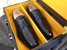 2018 Новый из натуральной глянцевой крокодиловой кожи живота Мужские Бизнес обуви, роскошные наивысшего качества блестящие крокодиловой кожи мужская обувь плата корабль