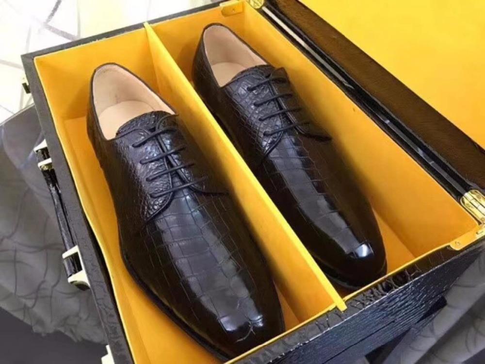 2018 new Genuine real glossy crocodile belly skin men business shoe, luxury top quality shinny crocodile skin men shoe fee ship