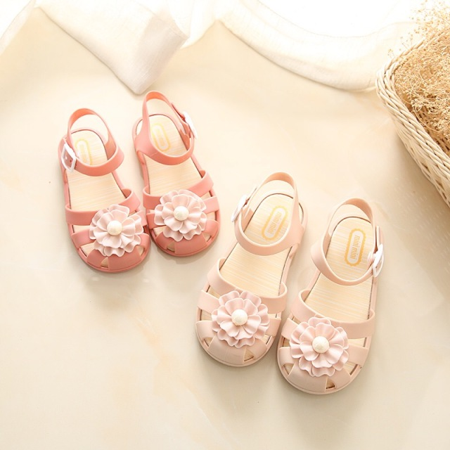 Mini Melissa 2018 Summer Pearl Flower Girls Sandals Princess Baby Toddler  Melissa Girl Sandals Kids Casual b229a02524c1