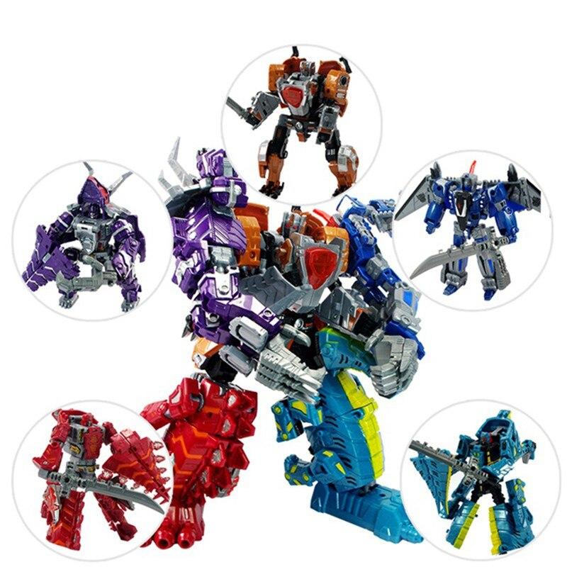 5 en 1 robots de sauvetage Transformation Robot jouets coloré 5 dinosaure fusionner déformation grand Robot ou dinosaure modèle cadeau pour les enfants