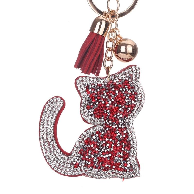 JAVRICK Шарм брелок кошка Дизайн кисточкой брелок со стразами Кошелек Сумочка Подвеска Key Holder подарок брелок
