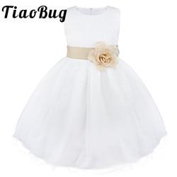 TiaoBug Branco Bola De Vestidos De Noite Da Dama de Honra Vestidos Pirotecnia Crianças Flores Bow Comunhão Santamente Vestidos Prom Vestidos para Meninas