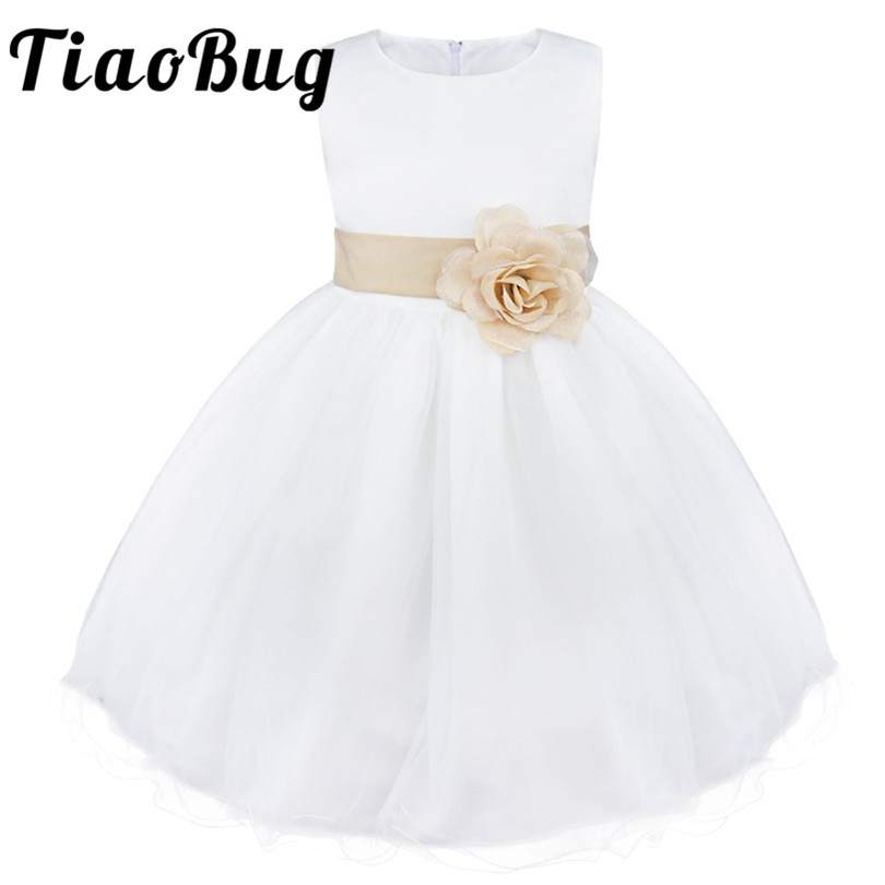 TiaoBug White Bridesmaid Dresses Pyrotechnics Evening Ball Gowns Kids Flowers Bow Holy Communion Dresses Prom Vestidos for Girls