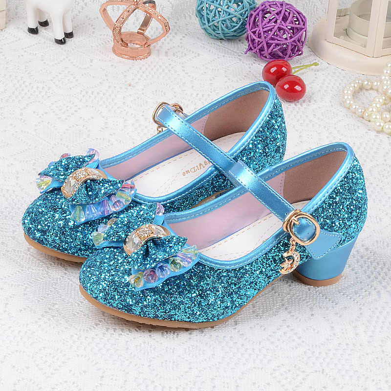 Children s Sequins Shoes Enfants 2018 Baby Girls Wedding Princess Kids High  Heels Dress Party Shoes For 8603338b08bc