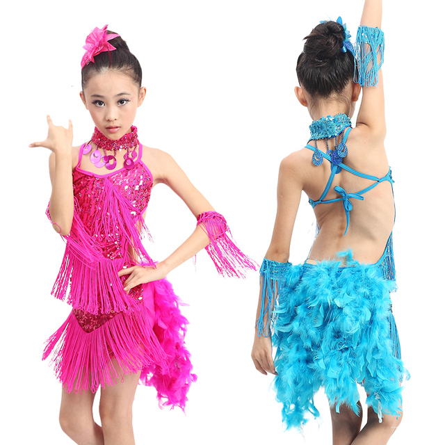 351162d6b children professional dance dress girls sequin fringe salsa tango costume  sexy ballroom dancing dresses kids latin skirt feather