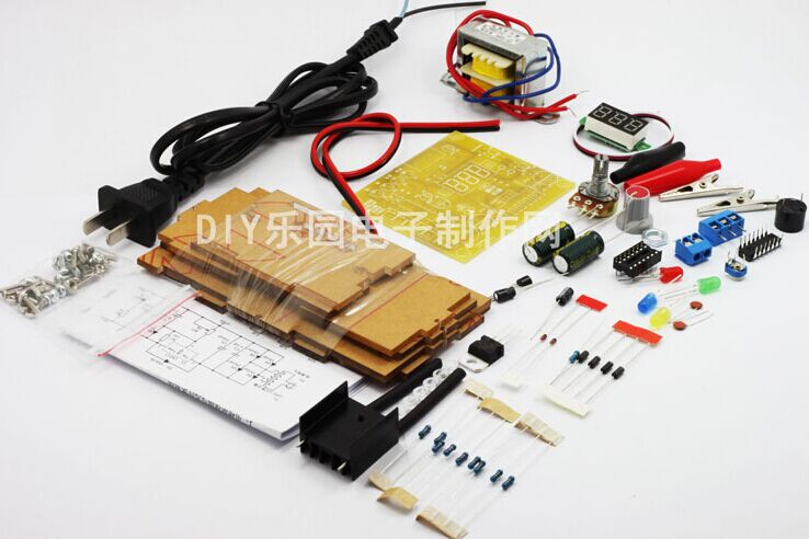 Factory Wholesale  EU 220V DIY LM317 Adjustable Voltage Power Supply Board Learning Kit With Case lm317 adjustable dc power supply voltage diy voltage meter electronic training kit parts