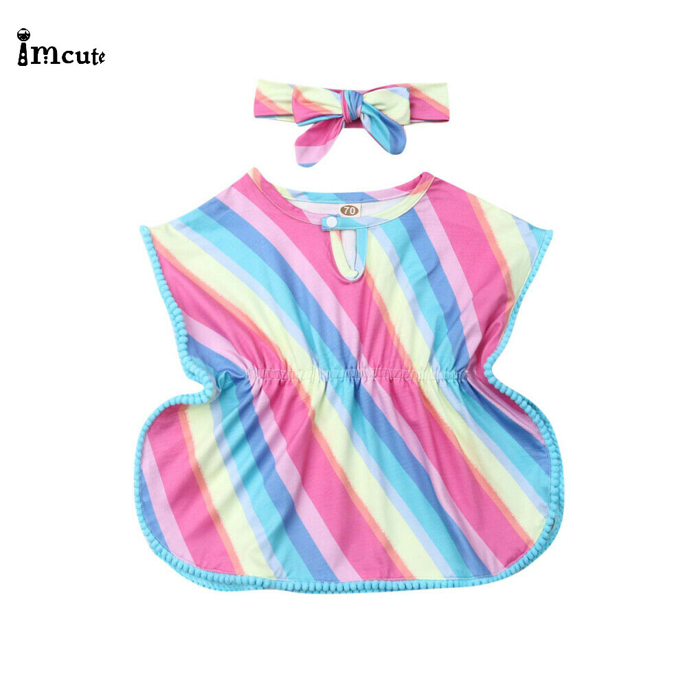 Newborn Infant Toddler Kids Baby Girl Rainbow Summer Causal Cotton Beach Dress Bikini Cover Up Headband 2019 Summer ClothesNewborn Infant Toddler Kids Baby Girl Rainbow Summer Causal Cotton Beach Dress Bikini Cover Up Headband 2019 Summer Clothes