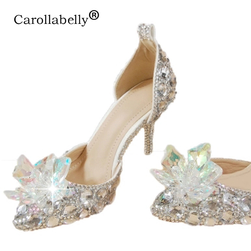 New Rhinestone High Heels Cinderella Shoes Women Pumps Pointed toe Woman  Crystal Party Wedding Shoes high c18ce72b142e