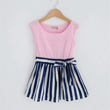 2017 Summer Girls Dress Cotton Kids Dresses For Girl Clothes 2-6Y Children  new 2017 summer autumn girl dress stripe cartoon cute children dresses side 2 pockets cotton vestidos girls clothes kids costume