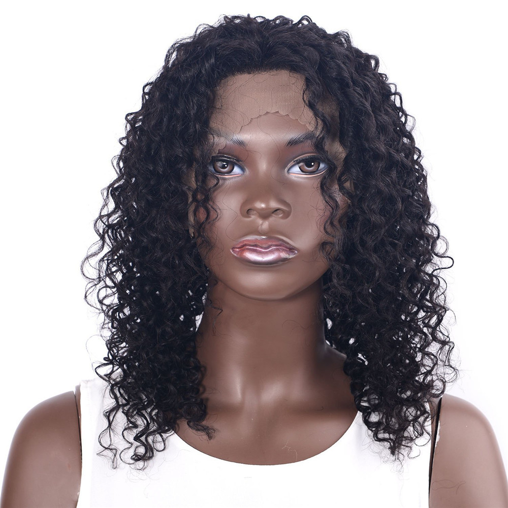 CHOCOLATE Remy Human Hair Lace Front Wigs for Black Women 160% Density Brazilian Kinky Curly Wig 12 Inch Free Shipping