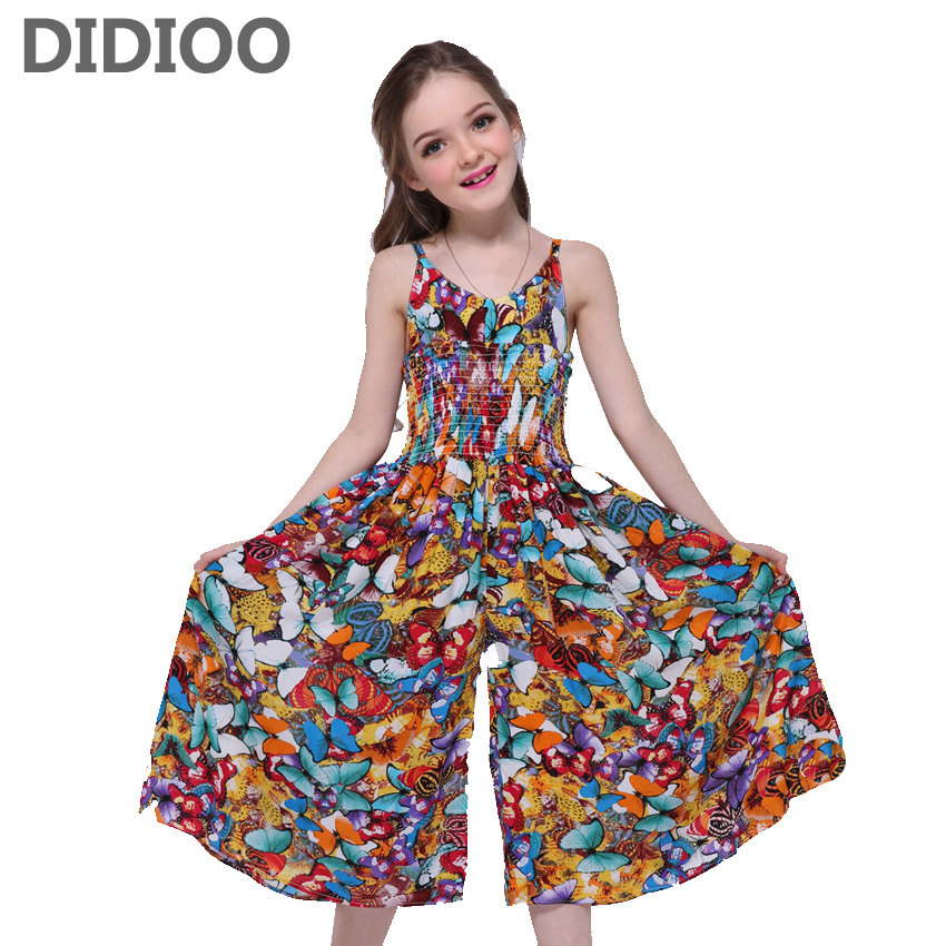 Girls Dresses Butterfly Print Bohemian Dresses For Girls Sleeveless V-Neck Jumpsuits Summer Maxi Beach Dress 2 3 5 7 9 11 Years v neck high waist print dress