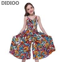 Girls Dresses Butterfly Print Bohemian Dresses For Girls Sleeveless V Neck Jumpsuits Summer Maxi Beach Dress