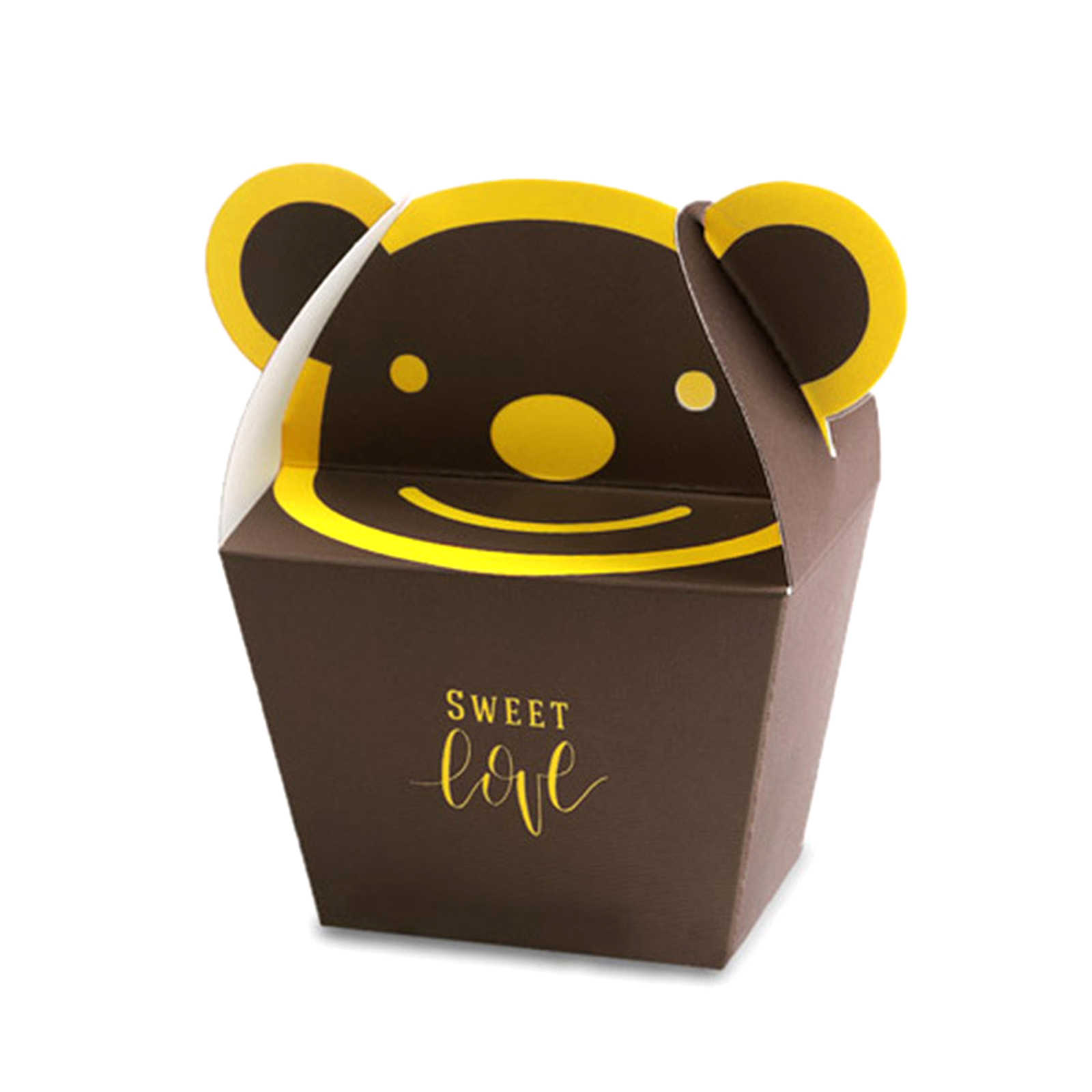 10 pçs/lote Urso Dos Desenhos Animados de Animais Caixa de Doces de Casamento Decoração de Festa de Ano Novo do Aniversário Dos Miúdos do Presente Do Chuveiro de Bebê de Chocolate Saco de 13.5x6.5x4.1cm