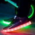 2016 Men Summer Usb Led Shoes for Adults Fashion Flash Shoes Lace-up Leather Emitting Luminous Chaussure Lumineuse Led Homme G34