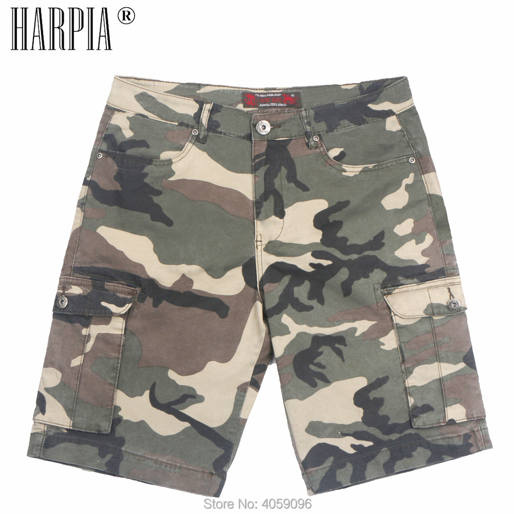 HARPIA Men Cargo Shorts Casual Loose Camo Green Short Pants Camouflage Military Summer Style Knee Length Plus Size Shorts Male