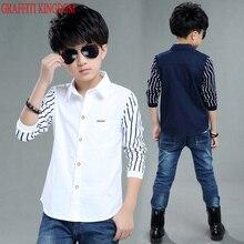WENDYWU/повседневная одежда для мальчиков; Лоскутные рубашки; сезон весна-осень; модные топы с длинными рукавами для больших мальчиков; бутик для подростков