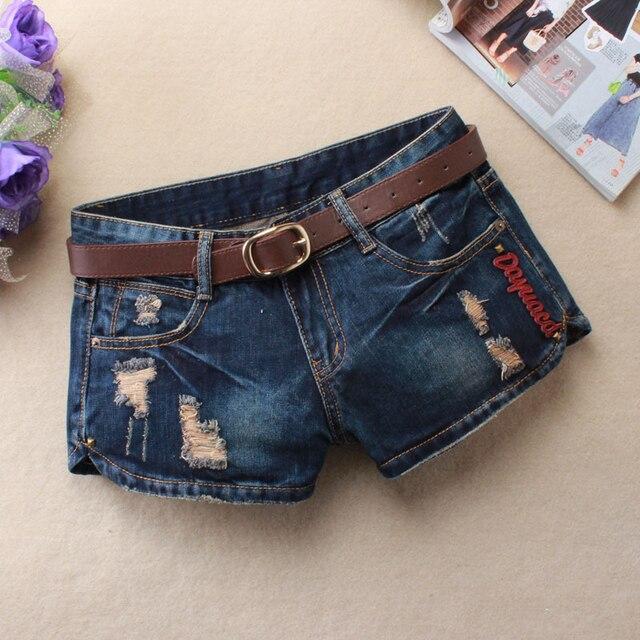 Verano de Las Mujeres Del Agujero Pantalones Cortos de Mezclilla de Moda Pantalones Cortos de Jean cintura Baja Pantalones Cortos Sin Cinturón