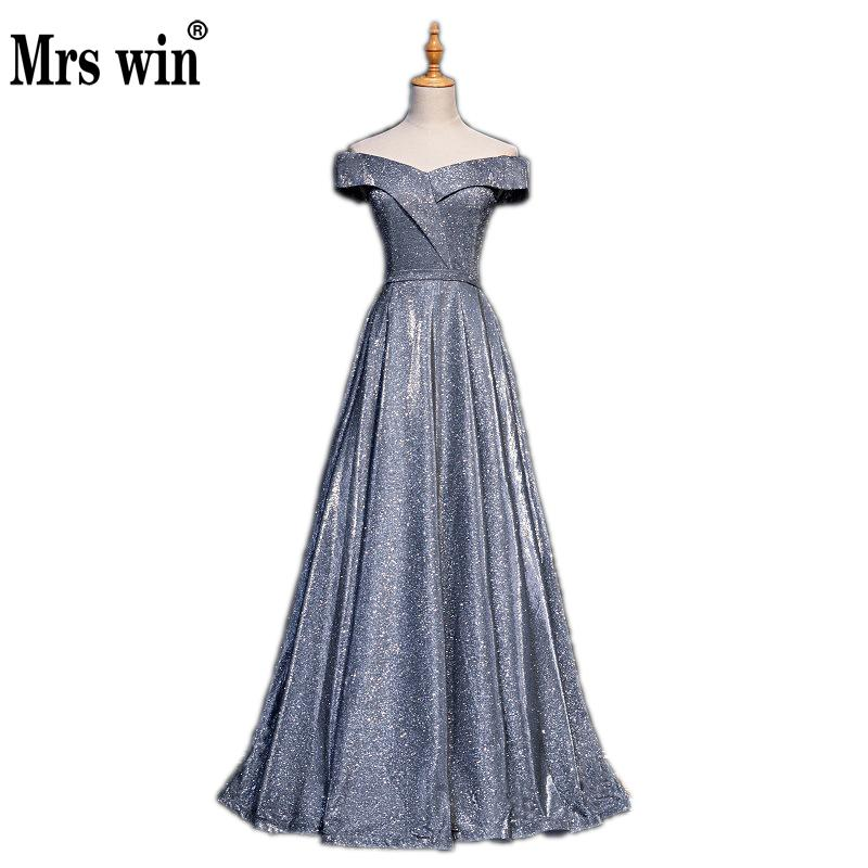 Mrs Win 2019 New Noble Evening Dress Sexy Boat Neck Female Banquet Dress Host Slim Dress