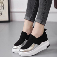 New popular color matching womens casual shoes increased bottom slope with fashion a pedal