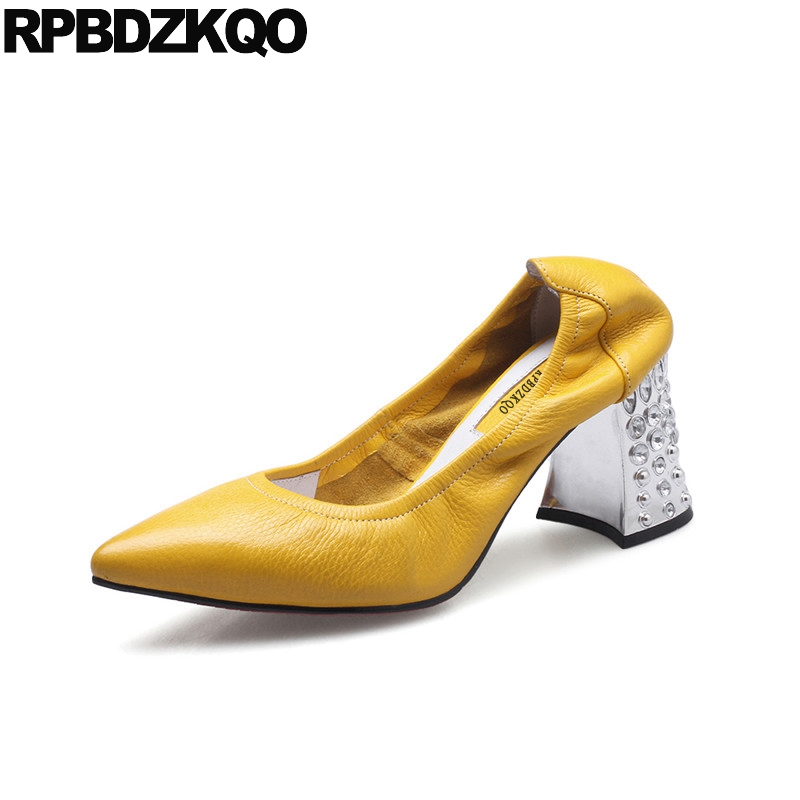 Ladies Luxury Pumps Female Crystal High Heels Shoes Genuine Leather Metal Rhinestone Pointed Toe 3 Inch 2017 Block Yellow Glove 3 inch autumn horsehair platform square toe creepers high heels yellow ladies green wedge shoes genuine leather wine red pumps