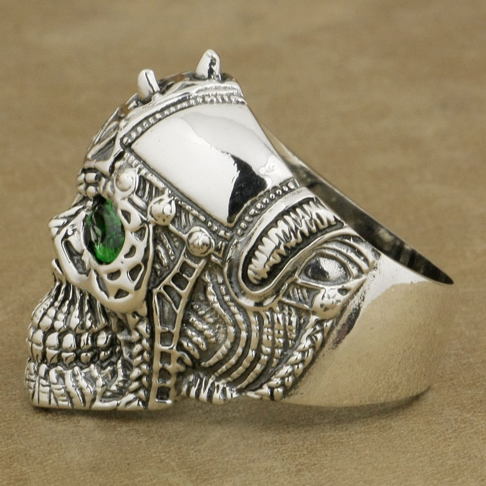 Green CZ Eyes 925 Sterling Silver Tattoo Skull Ring Mens Biker Gothic Ring 9G505