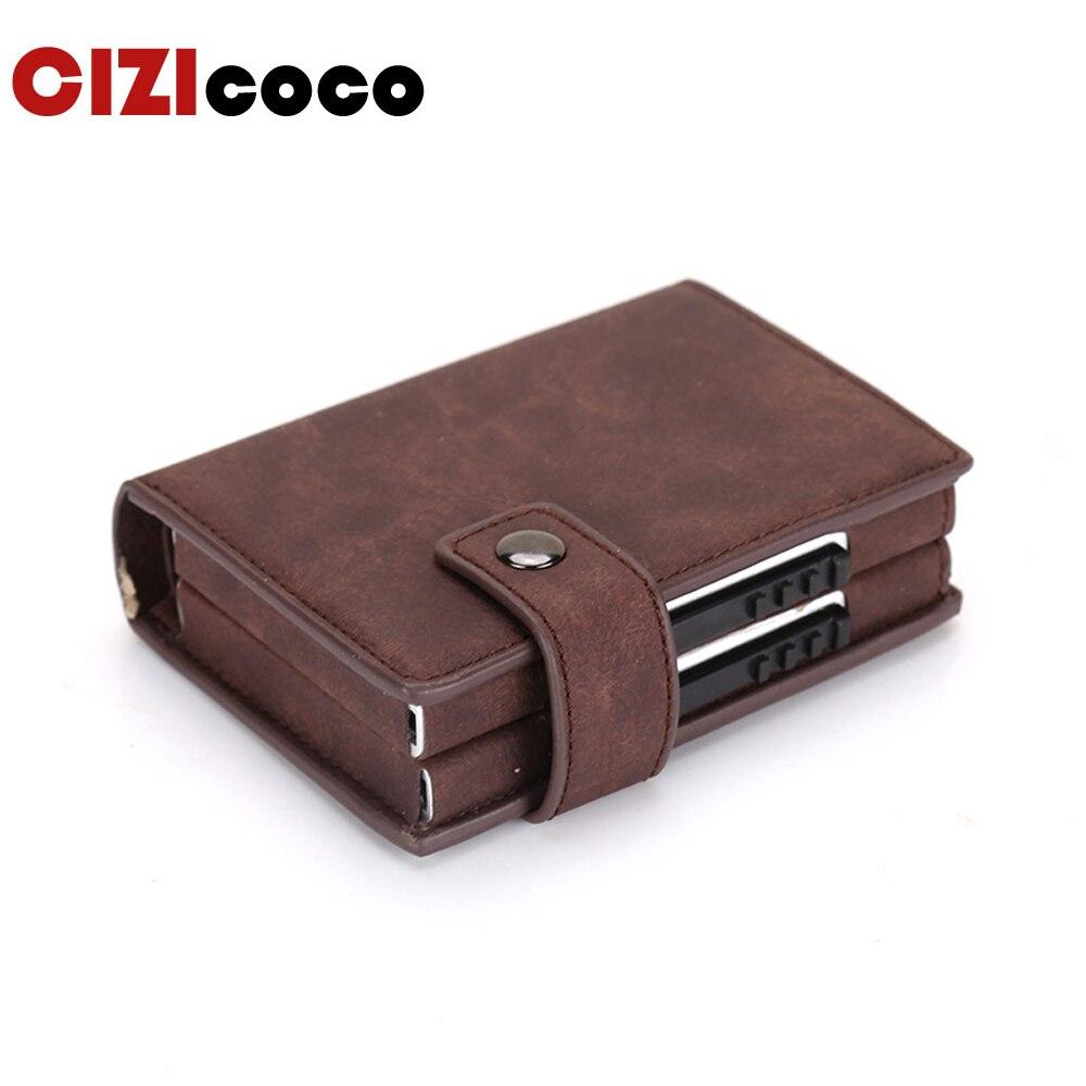 Двойной чехол для кредитных карт Rfid, алюминиевый кошелек для визиток, модный держатель для карт, металлический кожаный карман для визиток