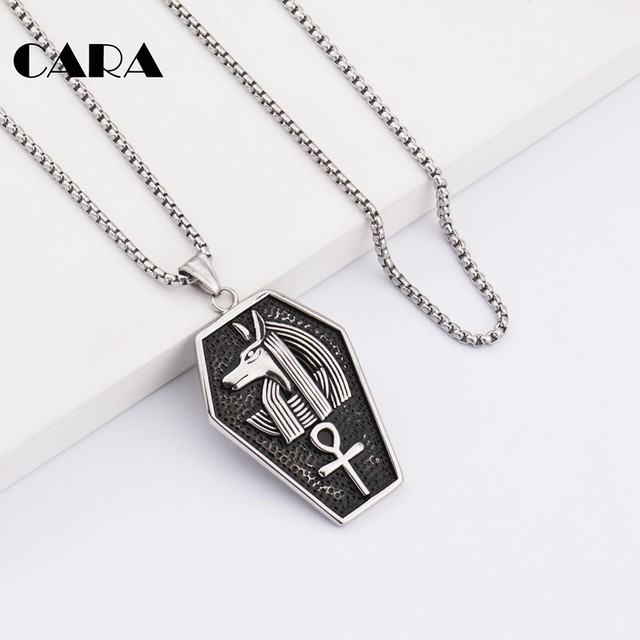 CARA New Arrival 316L stainless steel antique Silver color antient  Egypitian Anubis cross shield pendant necklace men CAGF0158 9413c54acd62