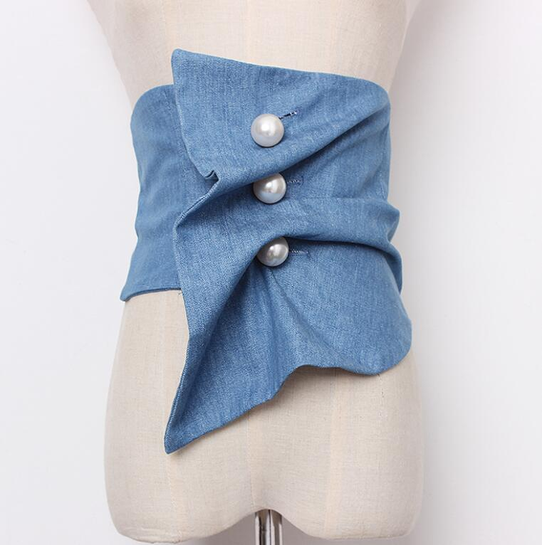 Women's Runway Fashion Vintage  Pearl Button Denim Cummerbunds Female Dress Corsets Waistband Belts Decoration Wide Belt R1425