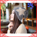 Women Autumn Winter Knitted Lace Flower Star beanie Winter Slouchy Baggy Skully knitted Beanie Cap