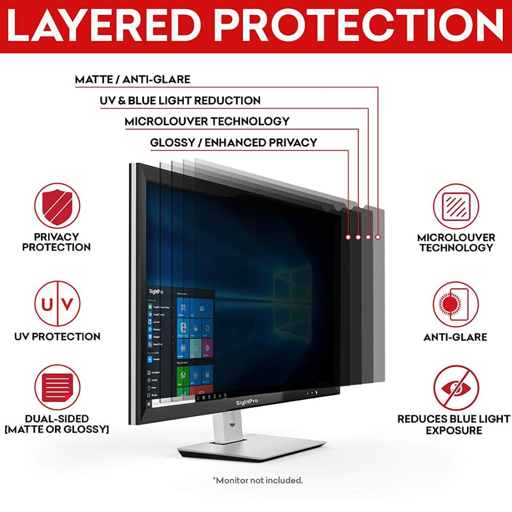 Computer Privacy Screen Filter for Widescreen Computer Monitor Anti-Scratch Protector Film 16:9 Aspect Ratio We Offer 2 Different 19.5 Filter Sizes Anti-Glare 19.5 Inch