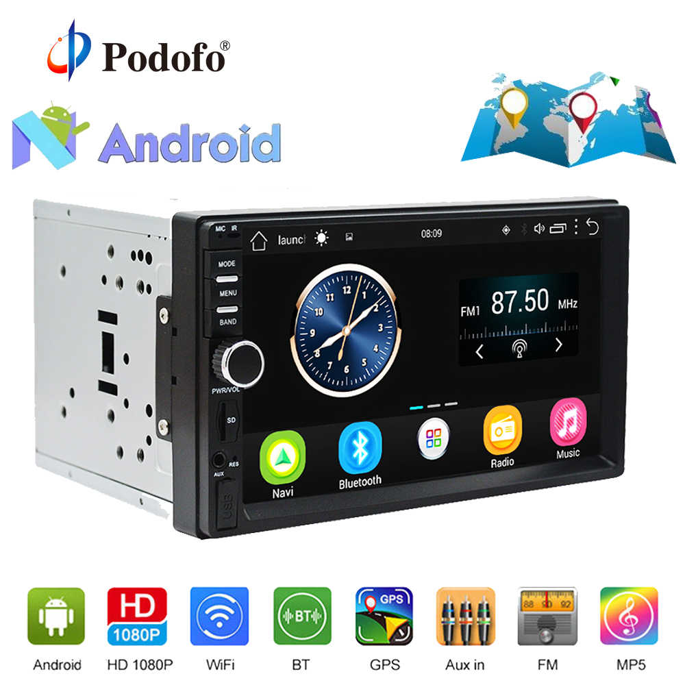 "Podofo 2din Car Radio Stereo Android GPS Navigation 7""1024*600 Universal Car Player Wifi Bluetooth USB Radio Audio Player No DVD"