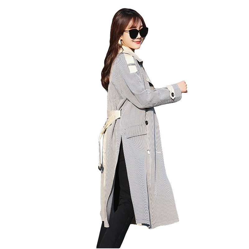 Long Trench Coat Female Spring Slim Overcoats Fashion Double-breasted Coats 2018 Women