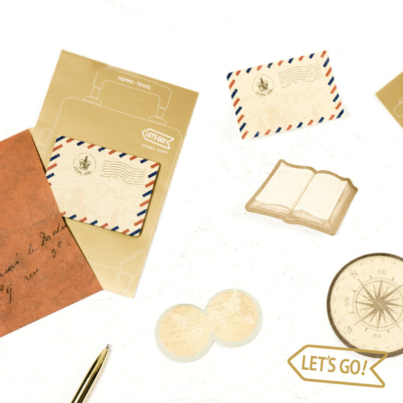 Cute Kawaii Travel Series Memo Pad Notepads Vintage Post It Note Paper Stickers Korean Stationery Student 4035