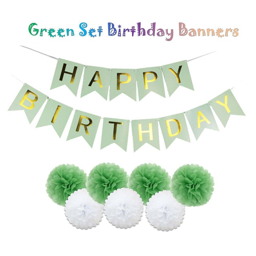Fabulous Green/Blue/Pink/Purple Set Happy Birthday Flag Banners For Kids  NE29
