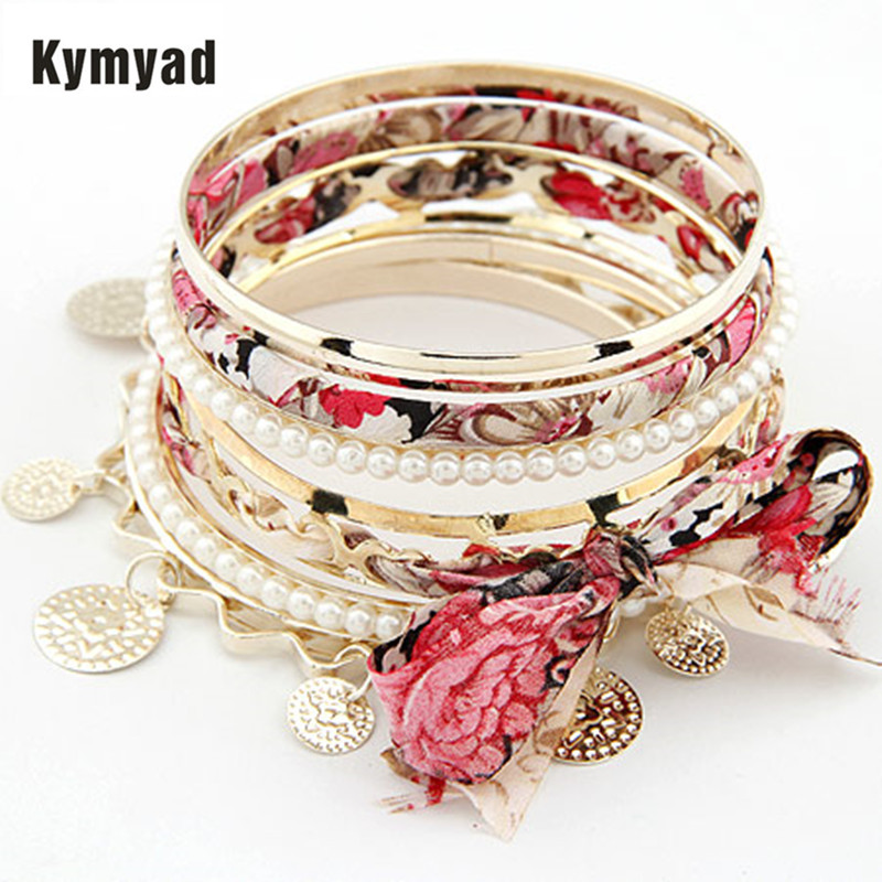 Kymyad Fabric Gold Color Bracelets & Bangles Women Bracelet Manchette Colorful Women Bracelets &Bangles Sets Pulseira Feminina