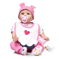 Soft Body Silicone Reborn Baby Doll Toy With Pink Cloth Girls Birthday Gifts Play House Bedtime
